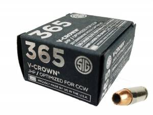 Sig Sauer P365 9mm 115 Gr Elite V-Crown JHP 20Rd Box